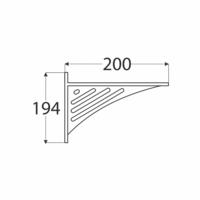 Konzole s trojúhelníkovou děrovanou vzpěrou 194 x 200 x 26 mm bílá, WAT 190