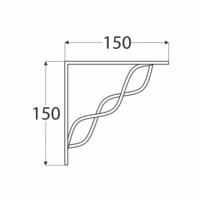 Konzole se splétanou vzpěrou 150 x 150 mm bílá, WPRP 150