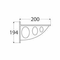 Konzole s děrovanou oválnou vzpěrou 194 x 200 x 26 mm bílá, WAO 190