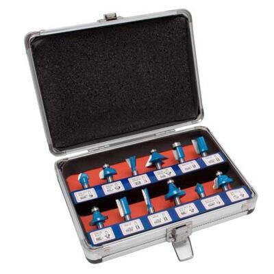 Stopková fréza - sada HM fréz, stopka 8mm, 12 dílů v hliníkovém kufru - 1