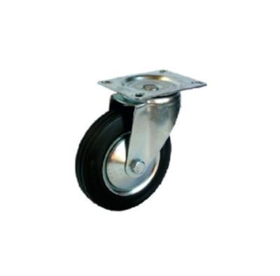 Kolo otočné s brzdou d 125 mm, 125 kg, černá/šedá guma, válečkové ložisko