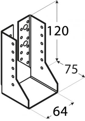 Trámová botka uzavřená 60 x 100 mm WBZ 14 - 2