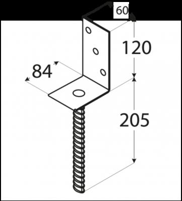 """Patka sloupku typu """"L"""" 84 x 130 x 5 mm, PS 84 L - 2"""