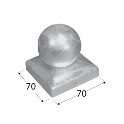 Stříška čtvercová s koulí pro sloup 70x70 mm DKK 70 - 2