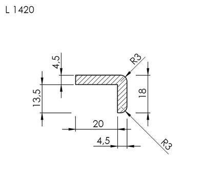 Lišta tvaru L 1420 SMRK/240 nastavovaná - 2