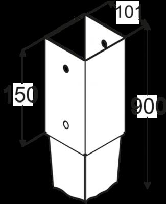 Patka sloupku k zarážení 101 x 900 mm PSG 100/900 - 2