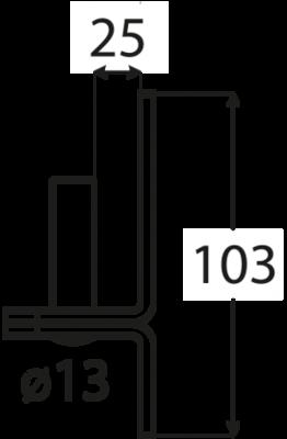 Držák čepu d 13 mm / 25 mm C 13/25 černý - 2