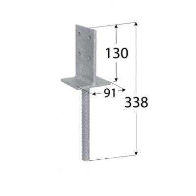 "Patka sloupku typu ""T"" zapuštěná 90 x 130 x 8 mm PSW 90 - 2"