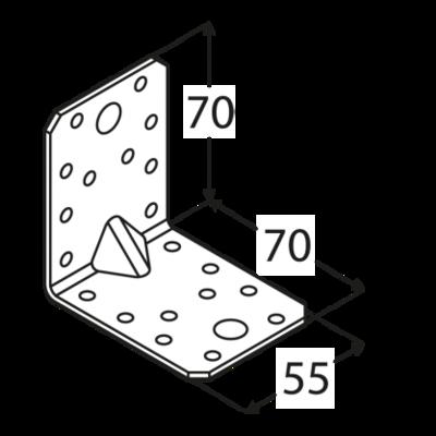Úhelník s prolisem 70 x 70 x 55 x 2 mm, KPL 4 - 2