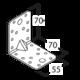 Úhelník s prolisem 70 x 70 x 55 x 2 mm, KPL 4 - 2/3