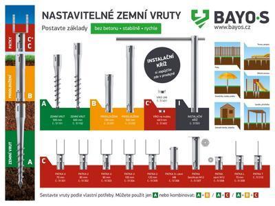 """Bayos Zemní vrut typu """"U"""" 80 mm, délka 750 mm U80 - 2"""