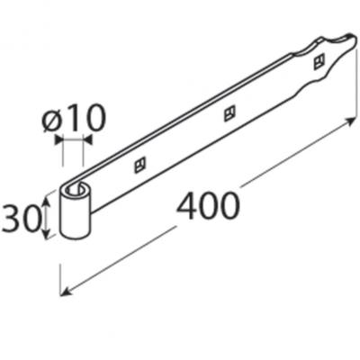 Závěs pásový 400 x 30 x 3 mm, d 10 mm, černý ZP 400/10 - 2