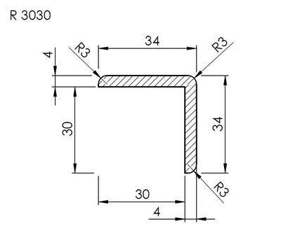 Lišta rohová vnější R 3030 SMRK/240 nastavovaná - 2