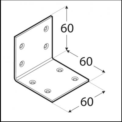 Úhelník široký 60 x 60 x 60 x 2 mm, KS 3 - 2