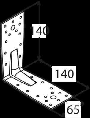 Úhelník s prolisem 140 x 140 x 65 x 2,5 mm, KP 5 - 2