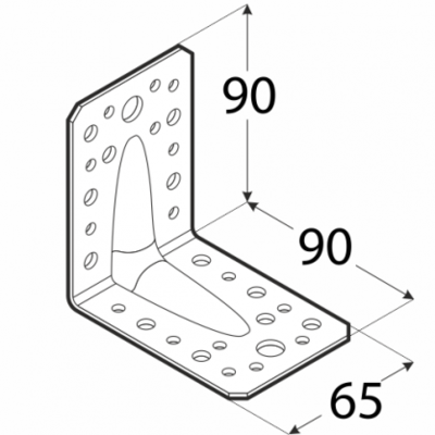 Úhelník s prolisem 90 x 90 x 65 x 1,5 mm, KPS 1 - 2