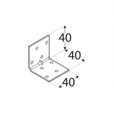 Úhelník montážní s prolisem 40 x 40 x 40 mm KMP 1 - 2