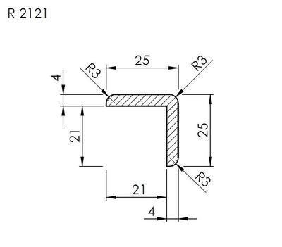 Lišta rohová vnější R 2121 SMRK/240 nastavovaná - 2