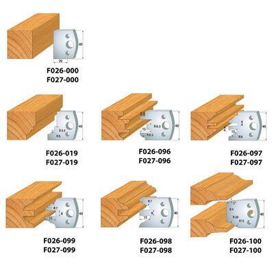Univerzální frézovací dvířková sada 7 kusová MAN- D100x40-50 d30 OCEL IGM - 5